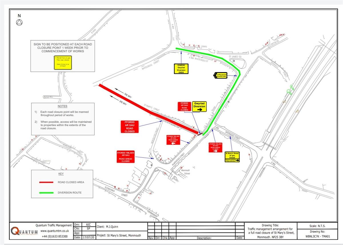st Mary Street Road closure map